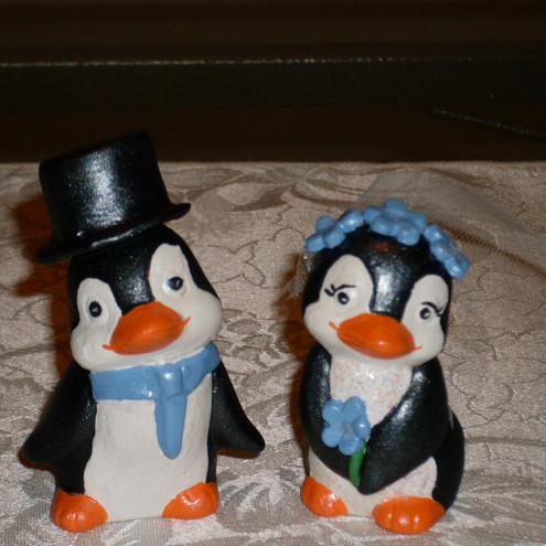 Penguin Wedding couple cake topper
