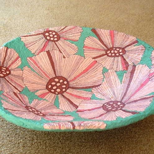 Paper flowers papier mache bowl folksy paper flowers papier mache bowl mightylinksfo