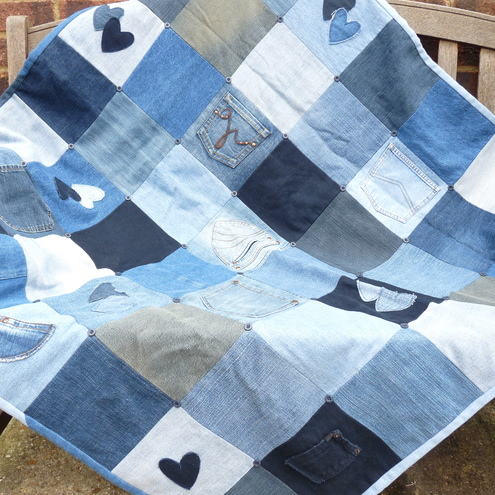 Denim patchwork lap quilt