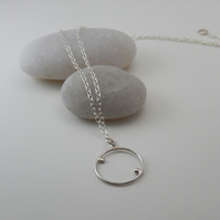 Sterling silver Circle & satellites Necklace