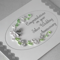 Quilled 25th anniversary card