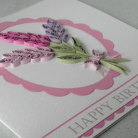 Birthday card, quilled lavender, handmade