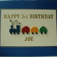 Birthday card for children, handmade, quilling train