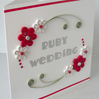 Quilled 40th anniversary card, ruby wedding, congratulations, paper quilling