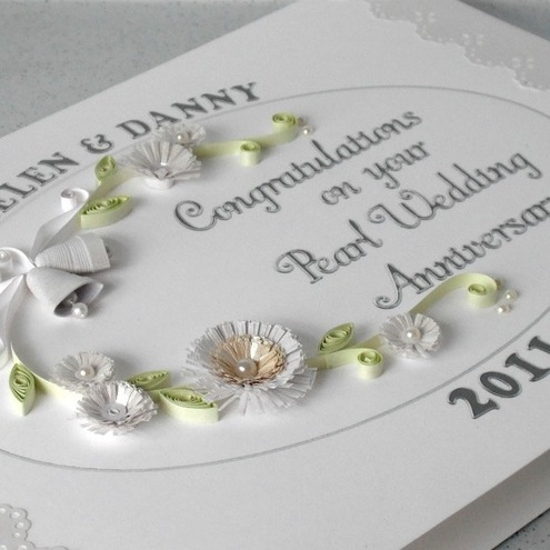 30th anniversary card, pearl wedding card