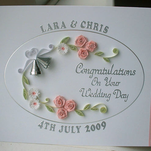 Handmade quilled wedding card - personalised