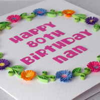 80th birthday card, paper quilling