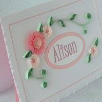 Quilling birthday card, personalised