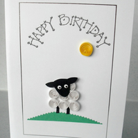 Birthday card - quilled sheep