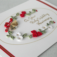 Quilling 40th anniversary card