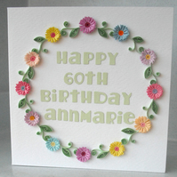 Quilled birthday card - personalised with any age and name