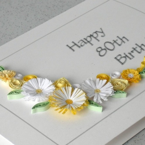 80th birthday card, quilled flowers, handmade