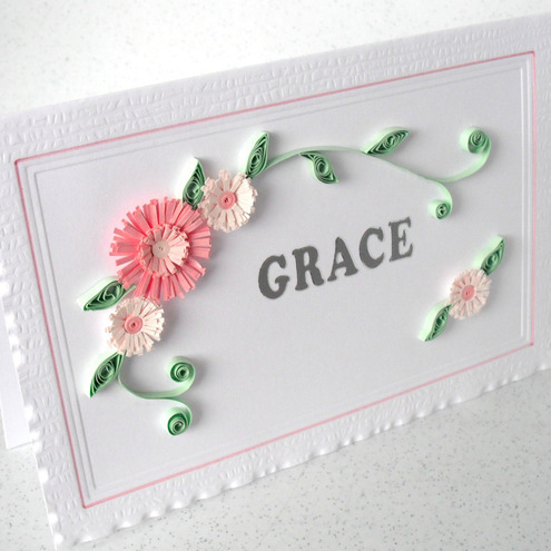 Quilled Birthday Card With Name And Flowers Folksy