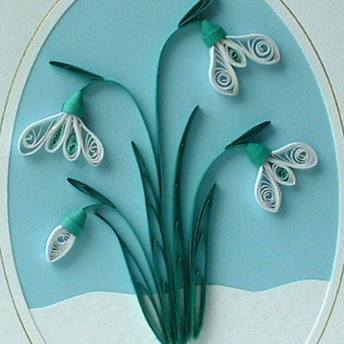 Quilling snowdrops birthday card
