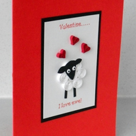 Quilled sheep Valentine card - I love ewe!