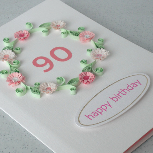 Handmade 90th Birthday Card