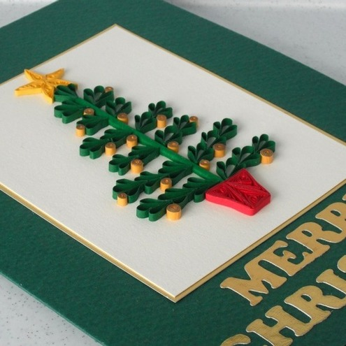 Christmas card quilled tree folksy for Christmas tree cards to make