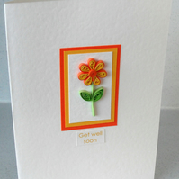 Get well card, paper quilling daisy