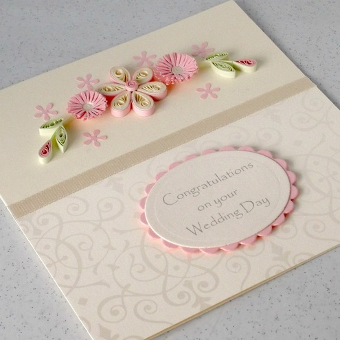 Quilled handmade happy wedding day congratulations card