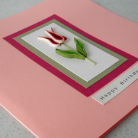 Birthday card, quilled tulip, handmade greeting, quilling