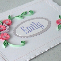 Handmade personalised paper quilled greeting card