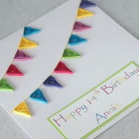 Quilled bunting birthday card, personalised with name and age, paper quilling, handmade greeting