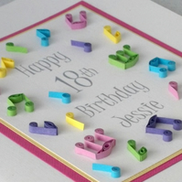 Quilled 18th birthday card, musical notes, personalised with age and name
