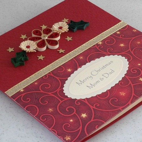 Handmade Christmas card - quilled, paper quilling, mum & dad