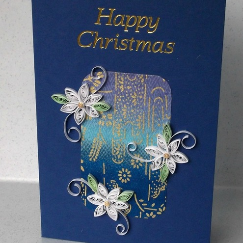 Handmade Christmas card - quilled, paper quilling