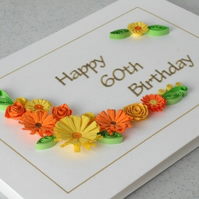 Quilled 60th birthday card