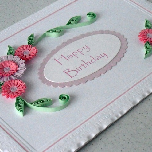 Quilled happy birthday card