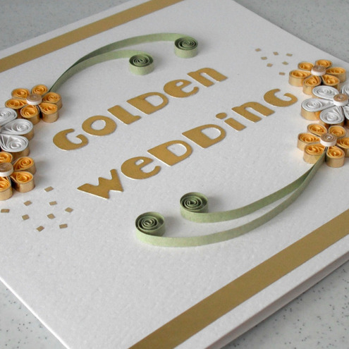 Quilled 50th wedding anniversary card