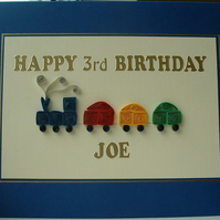 Handmade personalised quilled birthday card with quilling train