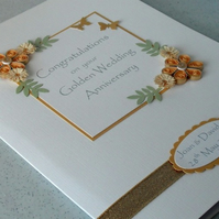 Handmade quilled 50th golden wedding anniversary greeting card, congratulations