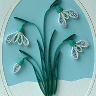 Quilled snowdrop birthday card