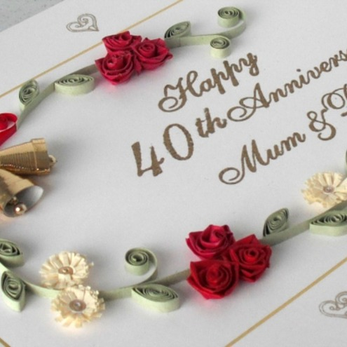 40th Wedding Anniversary Gifts For Mum And Dad : Quilled 40th ruby wedding anniversary card - mum and dad