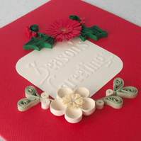 Quilled Christmas card with quilling