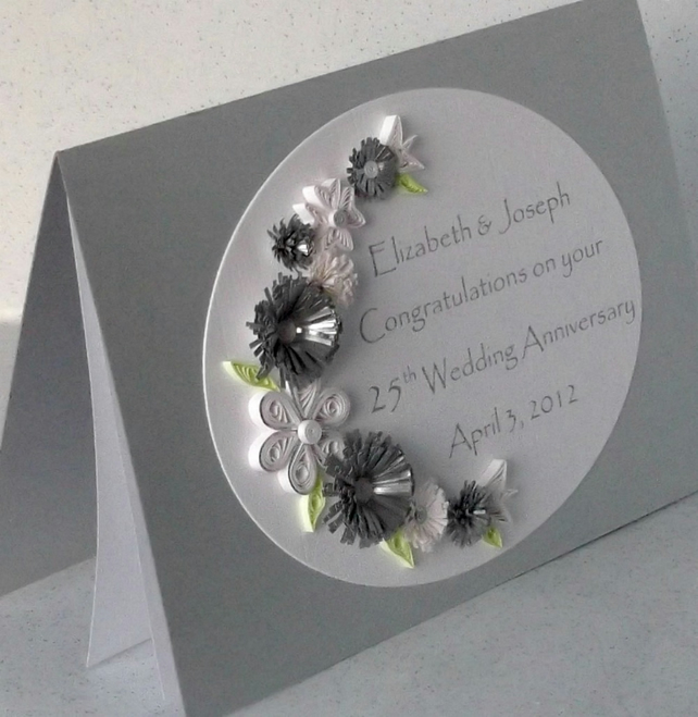 Silver Wedding Anniversary Card Quilling Pape