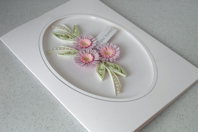 Paper quilling new home card with quilled flowers