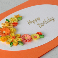 Handmade birthday card with quilling flowers