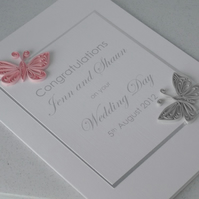 Handmade wedding card, congratulations, paper quilling butterflies