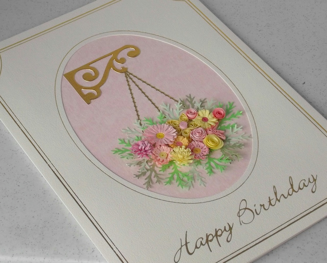 Quilled birthday card with quilling hanging basket