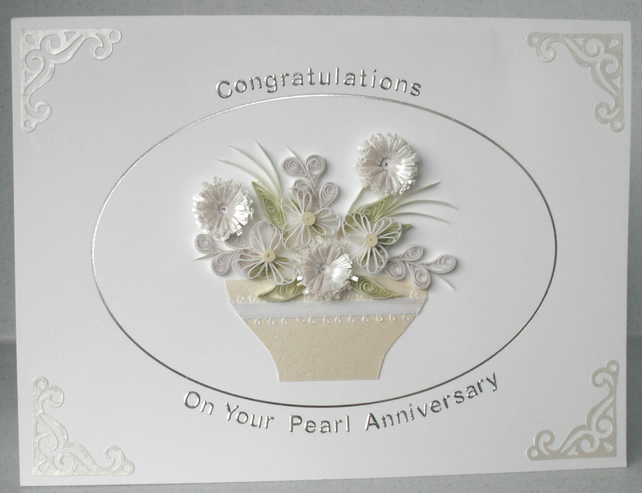 Th anniversary card pearl wedding folksy