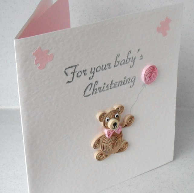 Quilled Christening congratulations card, for b... - Folksy