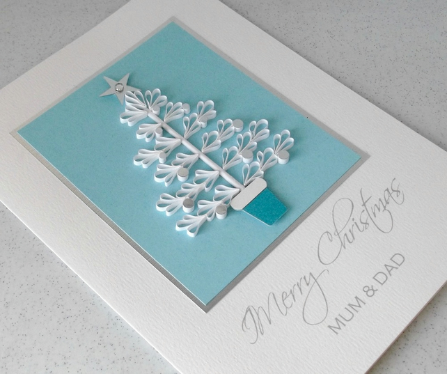 Quilled Christmas card for mum and dad - Folksy