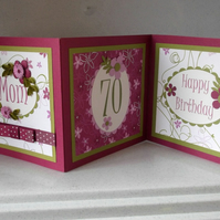70th birthday card, handmade quilled personalised 3 panel