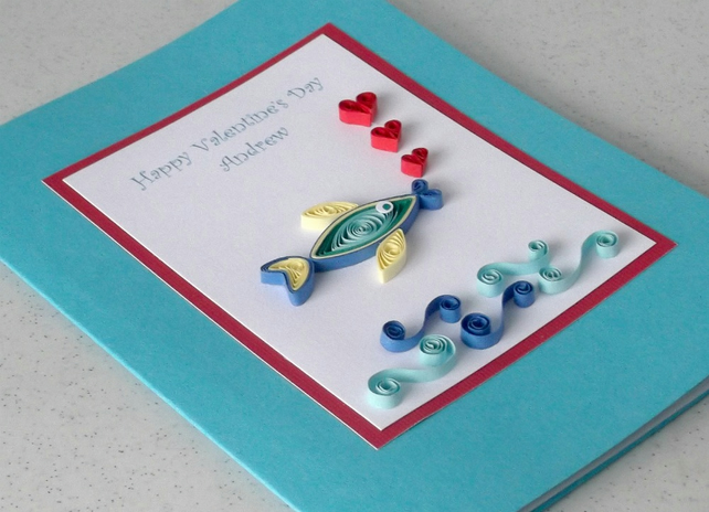 Quilled Valentine card with paper quilling fish  Folksy
