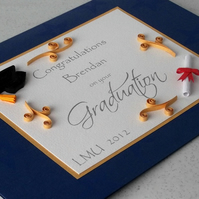 Quilled graduation congratulations card, personalised