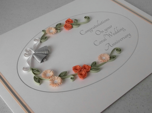 quilled 35th wedding anniversary card folksy