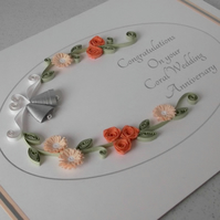 Quilled 35th wedding anniversary card